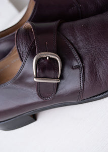 Wine Monk Strap Shoes, Size 10.5
