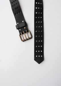 Perforated Black Leather Belt,31/32""
