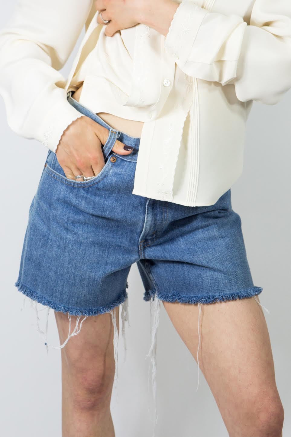 70's Baby Blue Levi's Cutoffs, 30""