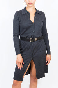 Long Charcoal DKNY Collared Cardigan, Small