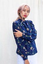 Load image into Gallery viewer, Vintage 80's Blue Floral Silk Necktie Blouse