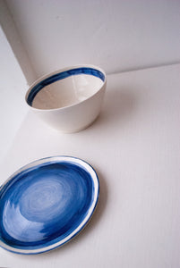 Cobalt Brushstroke Plate by Weird Vessels