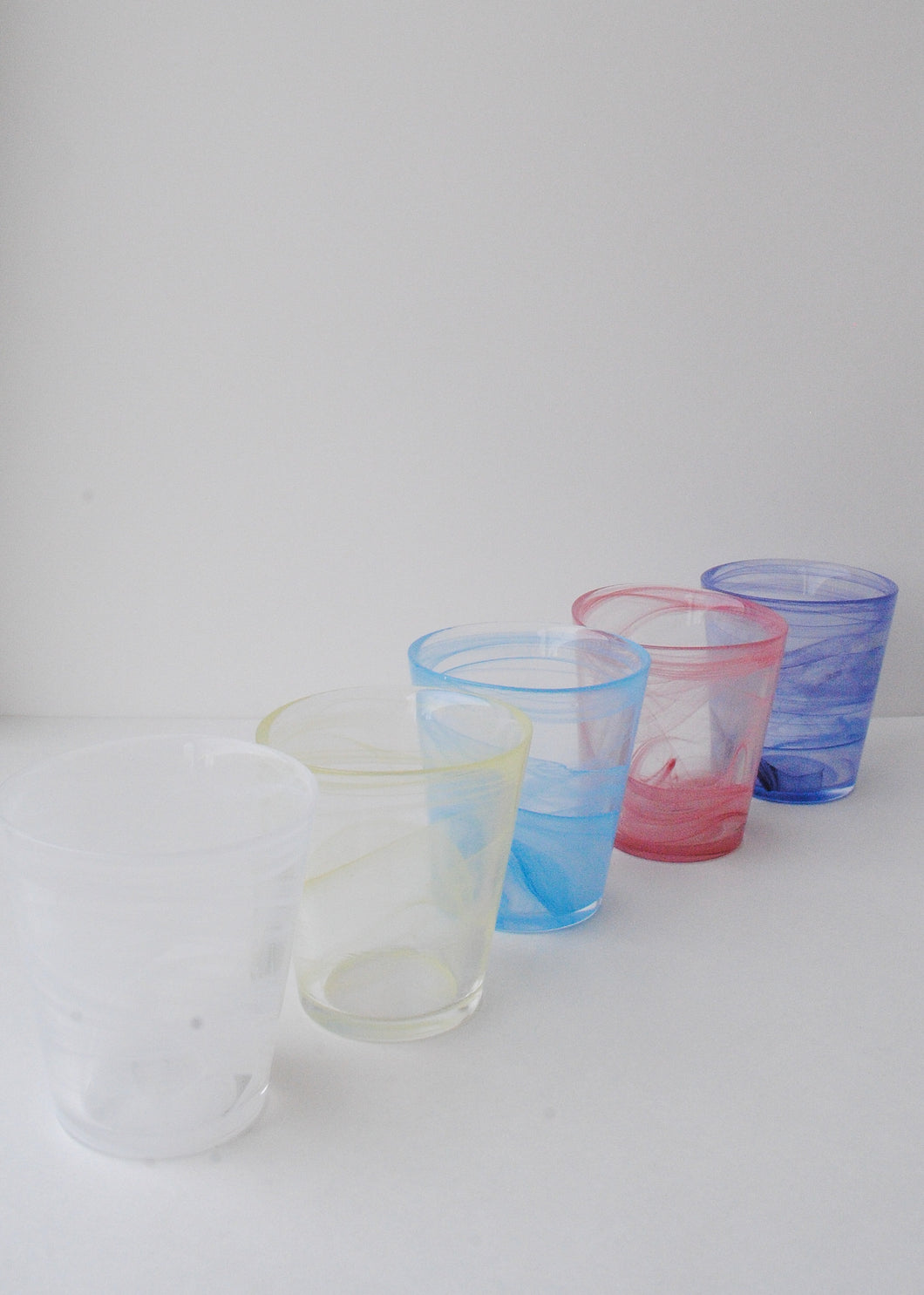 Handmade Pastel Drinking Glasses (Set of 5)