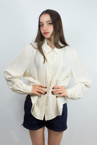 Cream Silk Pin Tuck Jones New York Blouse, 14
