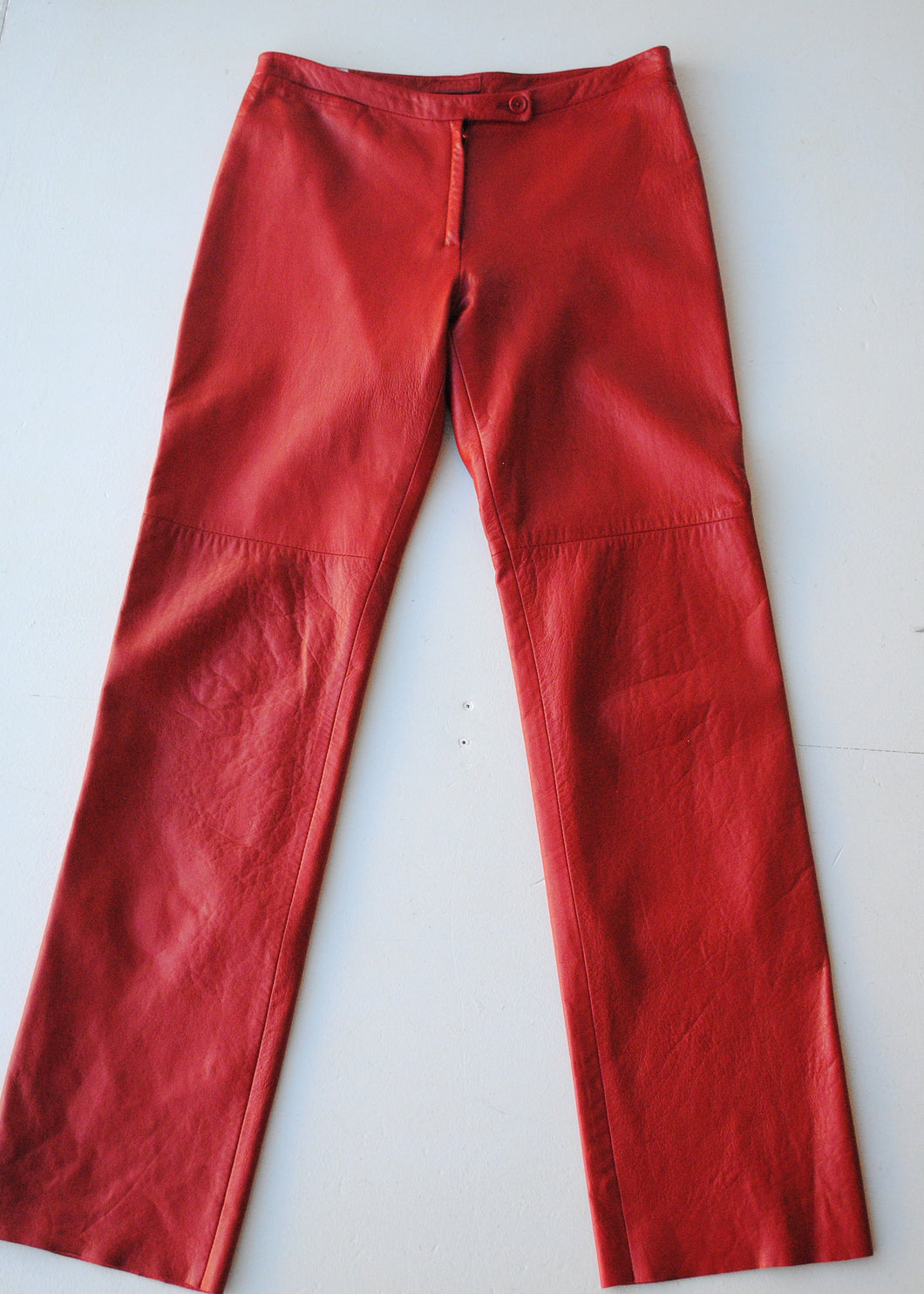 BCBG Red Leather Pants, Size 6