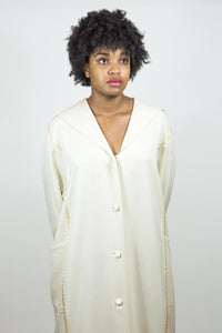 Vintage Cerruti 1881 Cream Silk Robe Jacket, XL