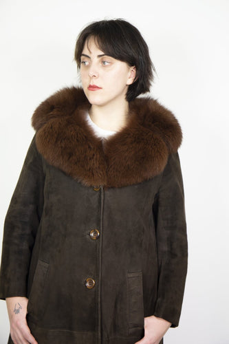 1960's Brown Suede Jacket with Fur Collar