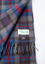 Load image into Gallery viewer, Grey and Red Plaid Vintage Wool Scarf