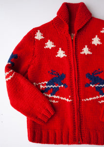 Handmade Red Wool Ski Cowichan, 12-14 year old