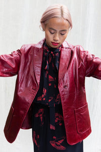 90's Gap Scarlet Red Leather Blazer, Medium