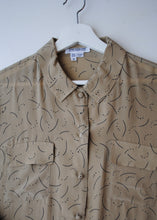 Load image into Gallery viewer, Crescent Moon Tan Silk Blouse, 14
