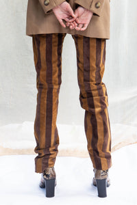 Dolce & Gabbana Striped Suede Trousers, 25""
