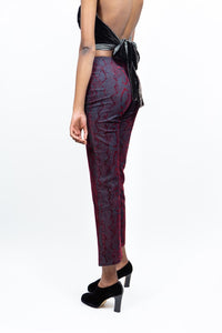 Flared Velvet Burnout Pants, 27""