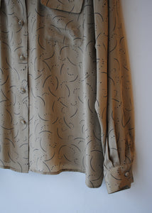 Crescent Moon Tan Silk Blouse, 14