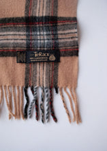 Load image into Gallery viewer, Tan Plaid Lambswool Scarf