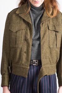 1955 Cropped Wool Military Jacket, xs-sm