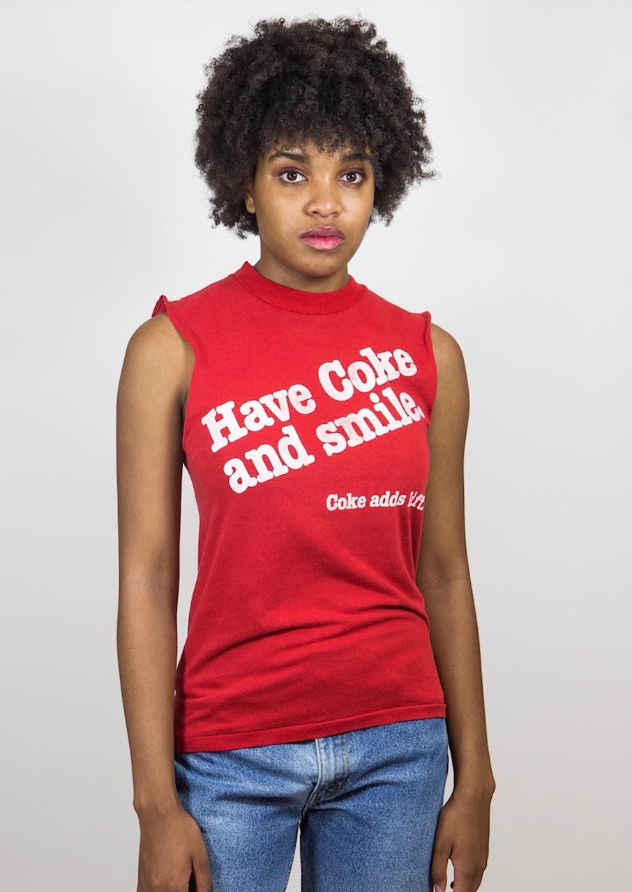 Vintage Coca-Cola Sleeveless Red Tee, Sm-Med