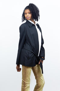 Black Wool Belted Jacket, Medium