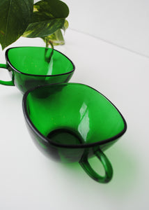 Vintage Emerald Glass Cups (Set of 2)