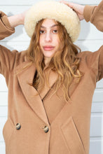 Load image into Gallery viewer, Brown Suede & Sheepskin Trimmed Chapeau