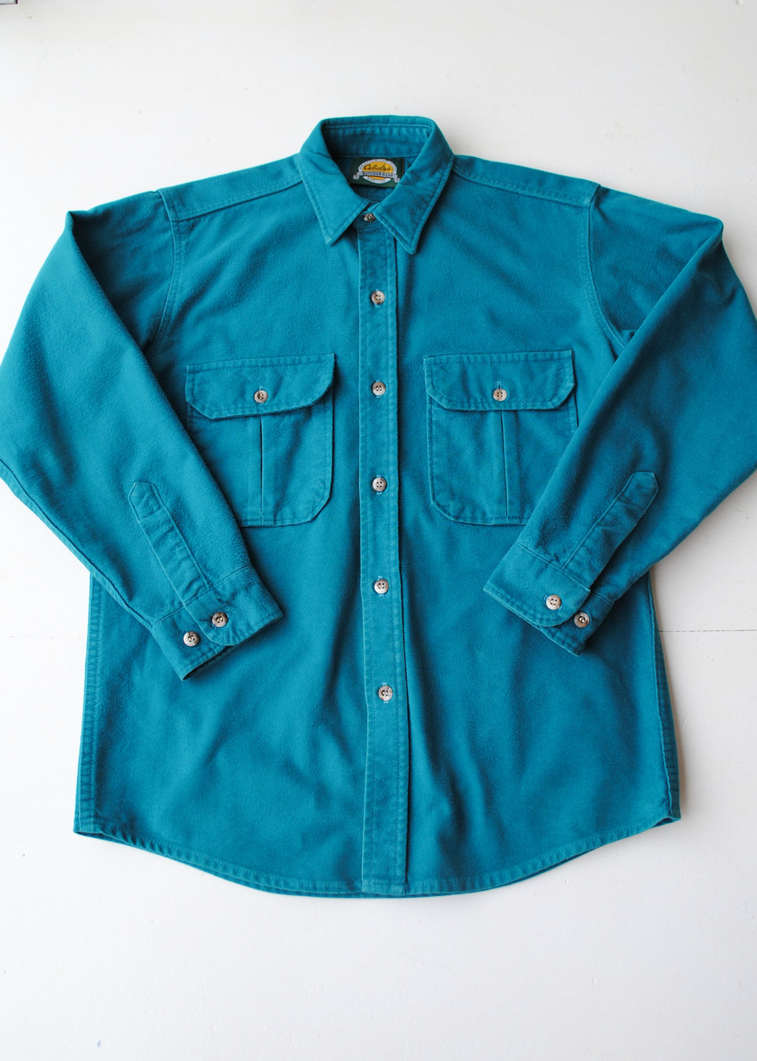 Cabelas Teal Flannel Shirt, Medium