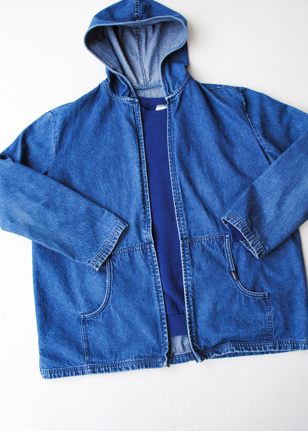 Hooded Denim Chic Jacket, Medium-Large