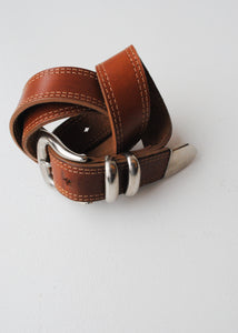 Tan Leather Belt with Silver Buckle, 30""