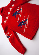 Load image into Gallery viewer, Handmade Red Wool Ski Cowichan, 12-14 year old