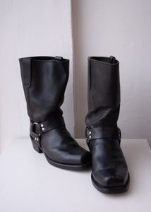 Black Motorcycle Boots, Men's 11