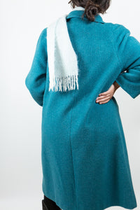 Turquoise D'Allairds Wool Car Coat, L-XL