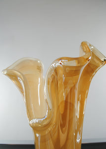 Murano Peach Glass Ruffle Vase