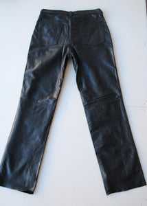 "Navy Banana Republic Leather Jeans, 30""/ Size 6"