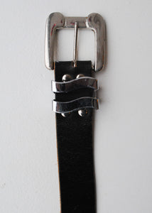 Black Leather Belt with Oversize Silver Buckle, 29/30""