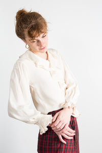 Romantic Ruffled Cream Silk Blouse, sm-med