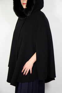 Mallia Cape w/ Fur-Trimmed Hood, One Size