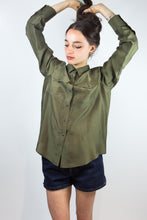 Load image into Gallery viewer, Military Green Silk Ralph Lauren Blouse, 8P