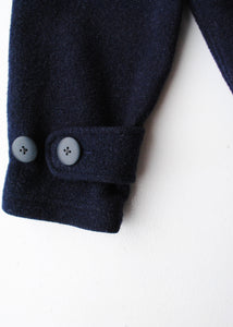 Woolrich Navy Wool Cropped Coat, Medium