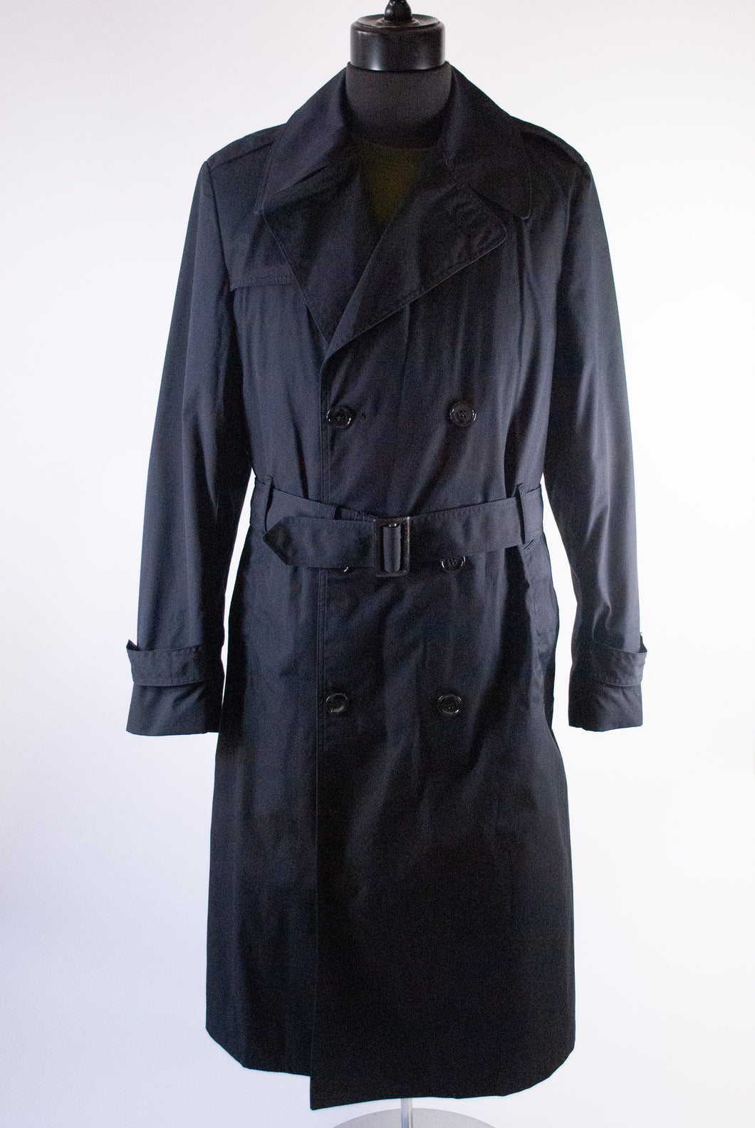 Black Belted Military Trench, Med-Lrg