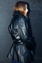 Load image into Gallery viewer, Danier Black Leather Belted Jacket, Large