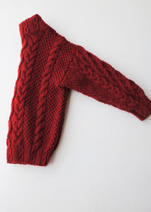 Handmade Red Cabled Sweater, Large