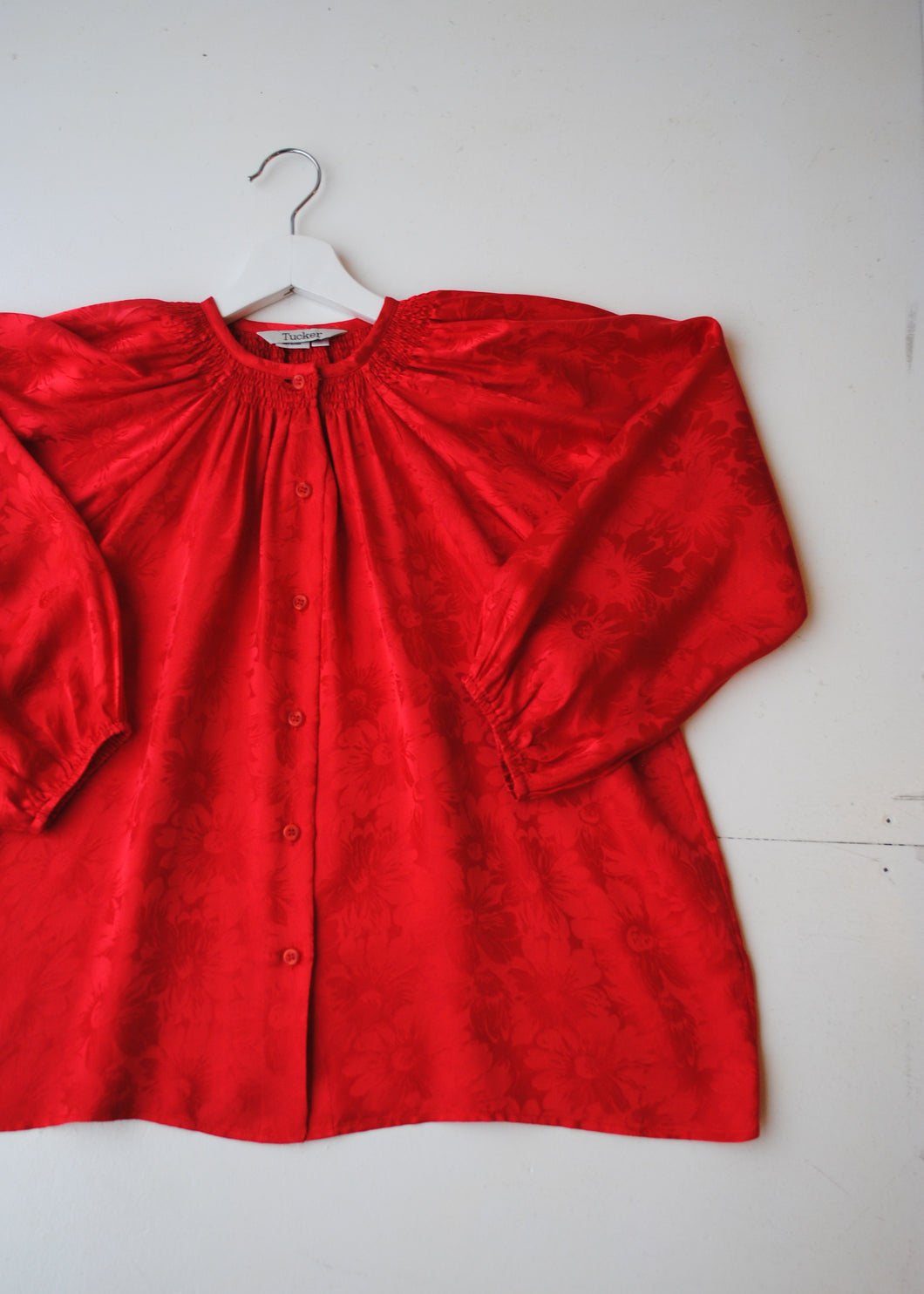 Red Silk Peasant Blouse, Small