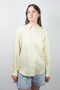 Pale Yellow Linen Collared Oxford, 10