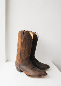 Matte Brown Leather Cowboy Boots, Size 9