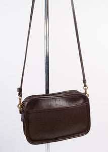 Mini Chocolate Leather Coach Crossbody