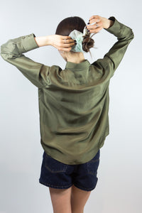 Military Green Silk Ralph Lauren Blouse, 8P