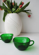 Load image into Gallery viewer, Vintage Emerald Glass Cups (Set of 2)