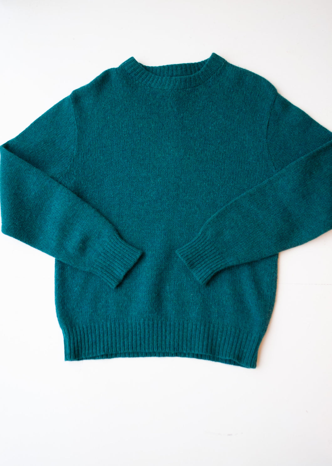 LL Bean Green Wool Sweater, Medium