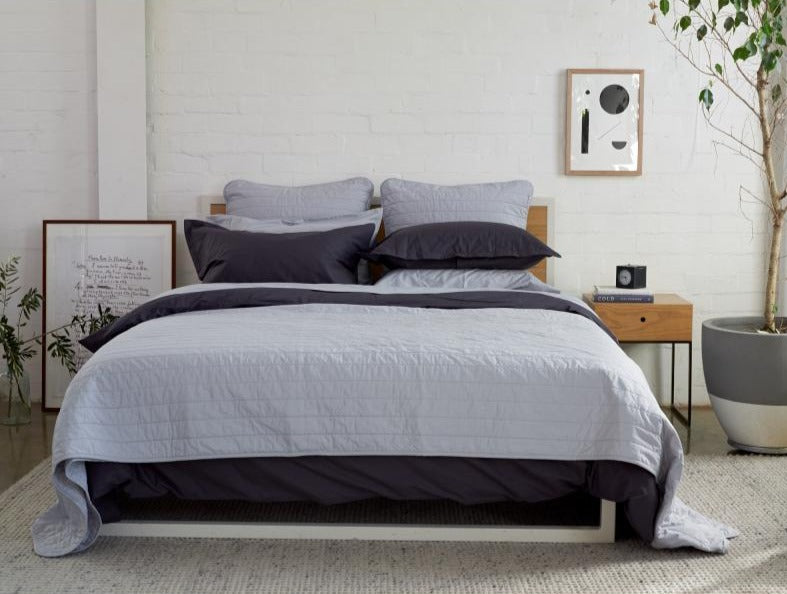 SILVER QUILTED BEDSPREAD + EURO PILLOWCASE SET - Feyrehome Australia