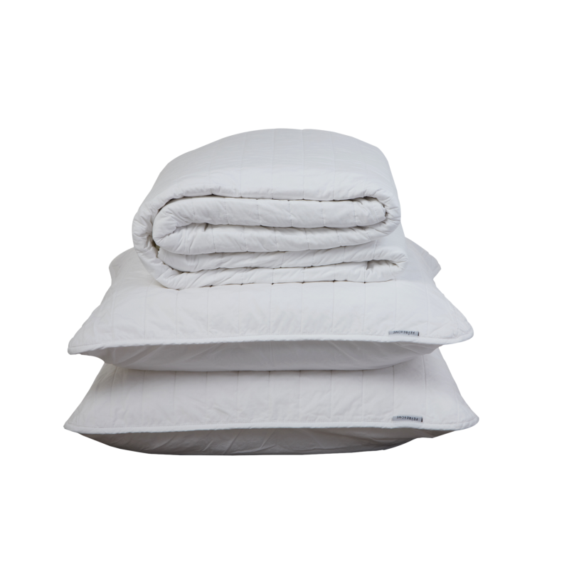 WHITE QUILTED BEDSPREAD + EURO PILLOWCASE SET - Feyrehome Australia