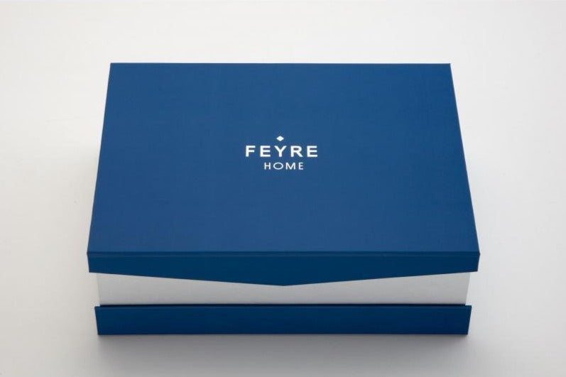 BLUE SHEET SET - Feyrehome Australia. Our signature gift box is made from 100% recycled materials. 100% extra-long staple cotton Percale Bedlinen. Oeko-tex certified.  Free shipping Australia.  Afterpay and ZipPay